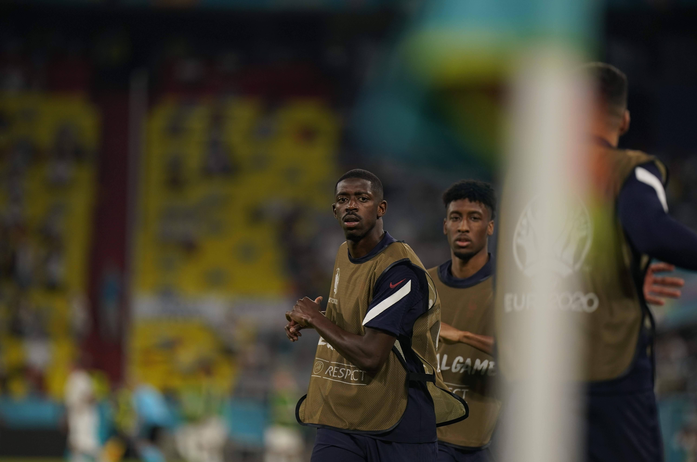 Ousmane Dembélé et Kingsley Coman à l'échauffement