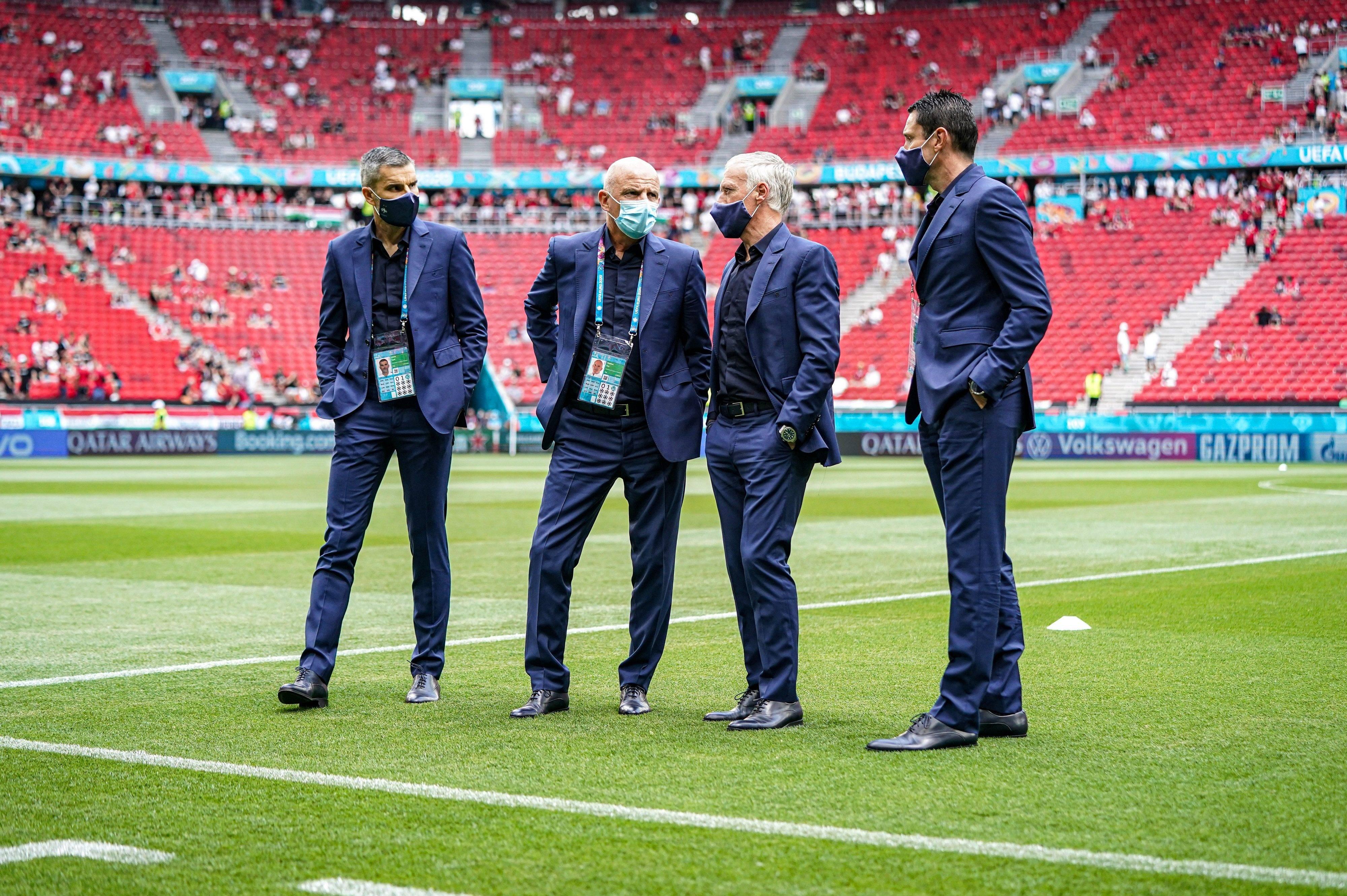 Cyril Moine, Guy Stéphan, Didier Deschamps et Franck Raviot